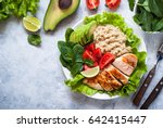 balanced nutrition. fresh salad ... | Shutterstock . vector #642415447