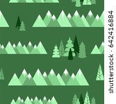 forest and mountains. seamless... | Shutterstock .eps vector #642416884