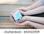 child and woman holding small... | Shutterstock . vector #642422509