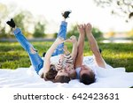 beautiful family resting in... | Shutterstock . vector #642423631