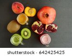pomegranate  peach and kiwi... | Shutterstock . vector #642425425