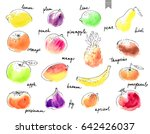 hand drawn watercolor stains... | Shutterstock .eps vector #642426037