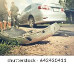 car accident on damaged road... | Shutterstock . vector #642430411