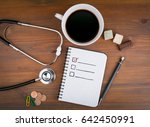 book with blank checklist on... | Shutterstock . vector #642450991