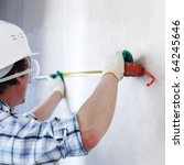 worker often with a measuring... | Shutterstock . vector #64245646