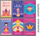 child girl birthday  princess... | Shutterstock . vector #642456541