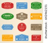visa stamp set. passport travel ... | Shutterstock . vector #642462151