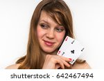 sexy woman with poker cards  ... | Shutterstock . vector #642467494
