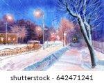 watercolor cityscape | Shutterstock . vector #642471241