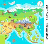 asia mainland cartoon map with... | Shutterstock . vector #642472255