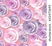 vector roses flowers seamless... | Shutterstock .eps vector #642473695