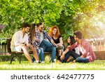 group of young people having... | Shutterstock . vector #642477775
