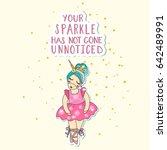baby princess unicorn  hand... | Shutterstock . vector #642489991