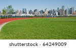 beautiful new york city skyline on a sunny day over hudson river - stock photo