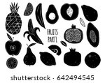 fruits silhouettes hand drawn...