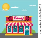 facade of candy shop flat... | Shutterstock .eps vector #642494617