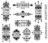 tribal old mexican ornaments ... | Shutterstock . vector #642497365