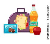 kids lunch box  bag with snacks ... | Shutterstock . vector #642506854