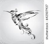 hummingbird with vegetation... | Shutterstock .eps vector #642507937