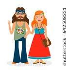 hippie sixties girl and man of... | Shutterstock . vector #642508321