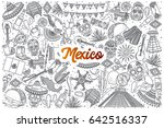 hand drawn mexico doodle set... | Shutterstock .eps vector #642516337
