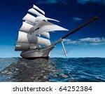 Sailing Ship In The Vast Ocean...