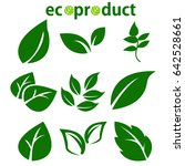 green leaves collection. leaves ... | Shutterstock .eps vector #642528661