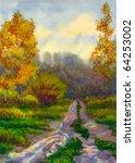 Watercolor Landscape. Yellowin...