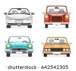 front view retro modern car... | Shutterstock .eps vector #642542305
