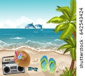 summer beach background with... | Shutterstock .eps vector #642543424