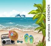 summer beach background with... | Shutterstock .eps vector #642543424