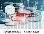 double exposure of stack of... | Shutterstock . vector #642545335