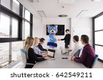 boss dresed as teddy bear... | Shutterstock . vector #642549211