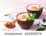 traditional indian almond lassi ... | Shutterstock . vector #642554374