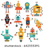 a set of funny robots. vector... | Shutterstock .eps vector #642555391