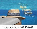 travel deals concept. hat and... | Shutterstock . vector #642556447
