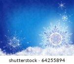 White Snowflakes On Blue Snow...