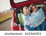 two youmg girls going to travel ... | Shutterstock . vector #642564451