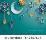paper graphic of islamic... | Shutterstock .eps vector #642567679
