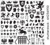 heraldic symbols and elements | Shutterstock .eps vector #64256950