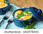 baked eggs for breakfast in...   Shutterstock . vector #642578341