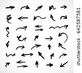 hand drawn arrows  vector set | Shutterstock .eps vector #642587581