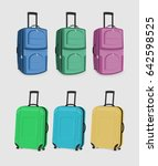 the set of suitcases. six carry ... | Shutterstock . vector #642598525