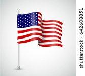 Waving Flag Of The Usa. Vector...