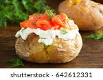 baked potato with cream of the... | Shutterstock . vector #642612331