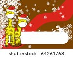 giraffe xmas background in... | Shutterstock .eps vector #64261768