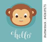 Cute Monkey Head. Lettering ...