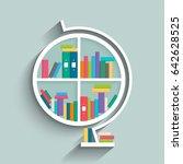 bookshelf in form of globe... | Shutterstock .eps vector #642628525