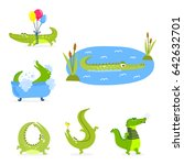 cartoon green crocodile funny... | Shutterstock .eps vector #642632701