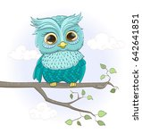 cartoon baby owl sitting on a... | Shutterstock .eps vector #642641851
